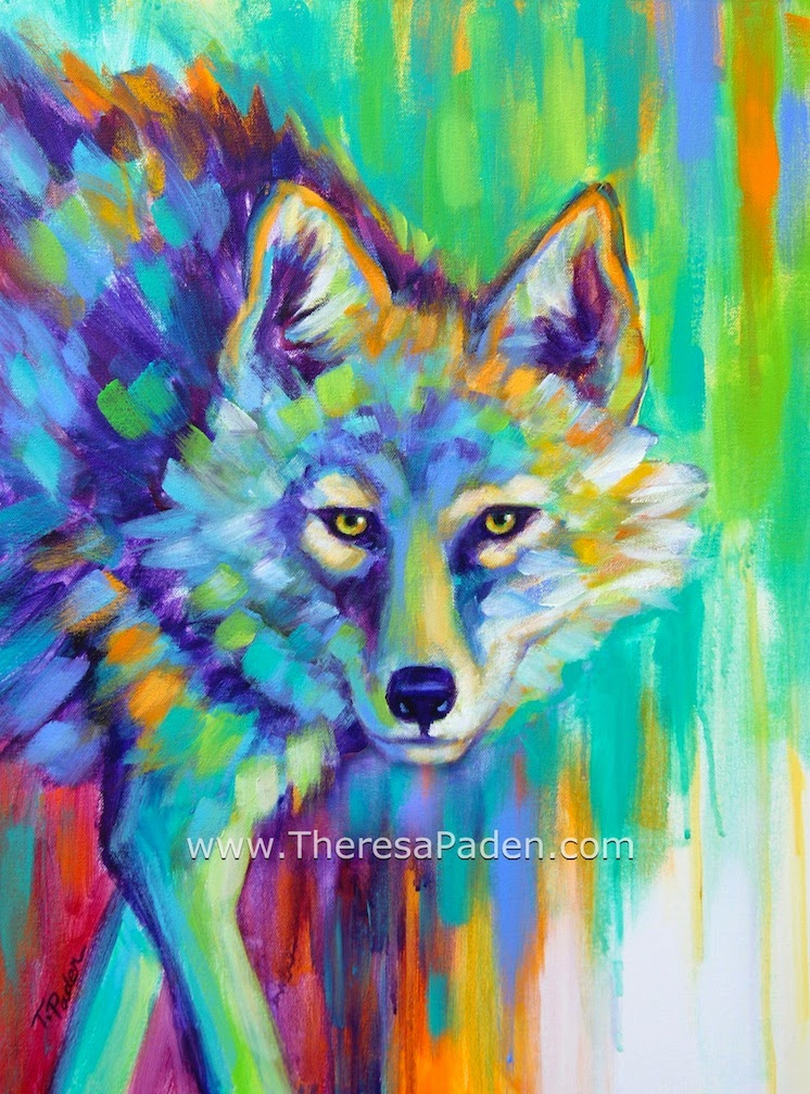 Paintings By Theresa Paden Painted Desert Coyote Painting In Bright