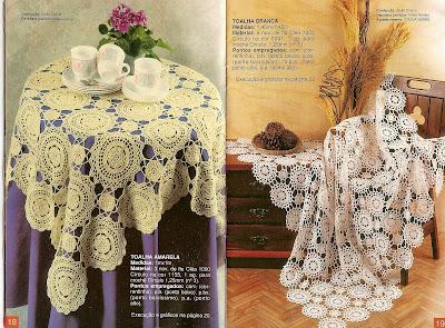 Toalhas de mesa em crochet com receita