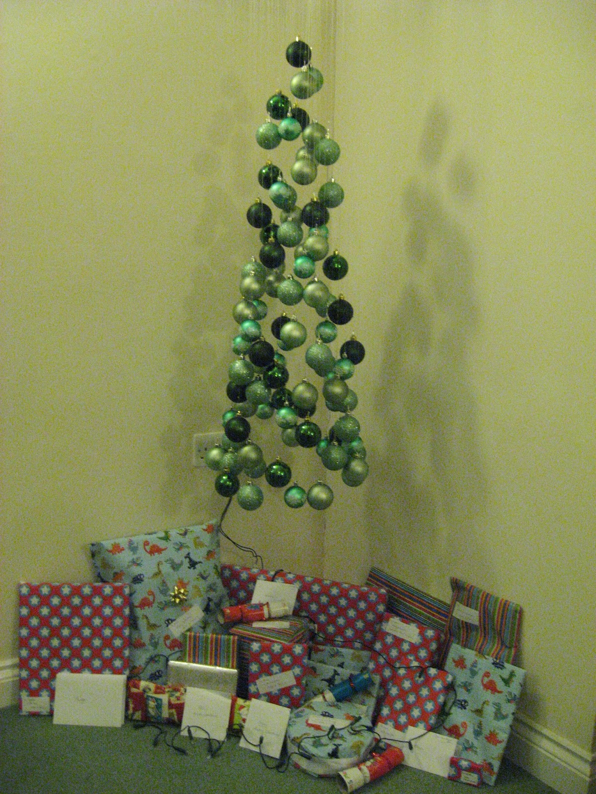 Roughly Following The Instructions We Found On Notmartha.org, My Friends  Joe And Jenny, And I Made This Christmas Tree Out Of Baubles While My  Husband Was ...