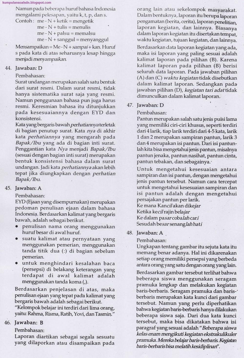 Pembahasan Soal Un Us Try Out Bahasa Indonesia Paket 3 Kelas 6 Vi Sd Ta 2011 2012 Kumpulan