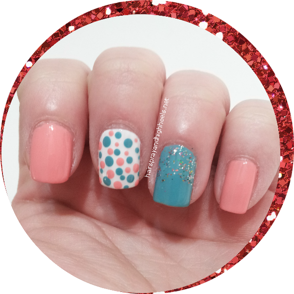 coral & teal polka dot manicure