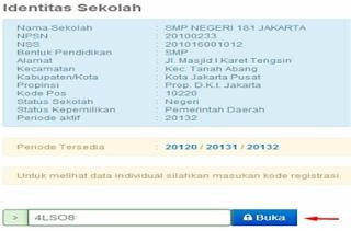kode registrasi sekolah yang sesuai