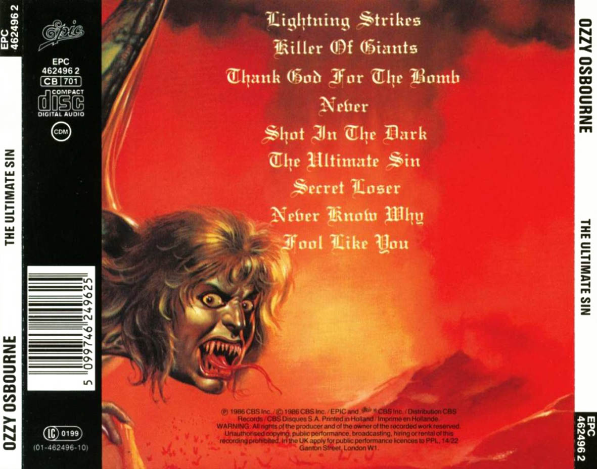 65  The Ultimate Sin  Ozzy OsbourneOzzy Osbourne The Ultimate Sin