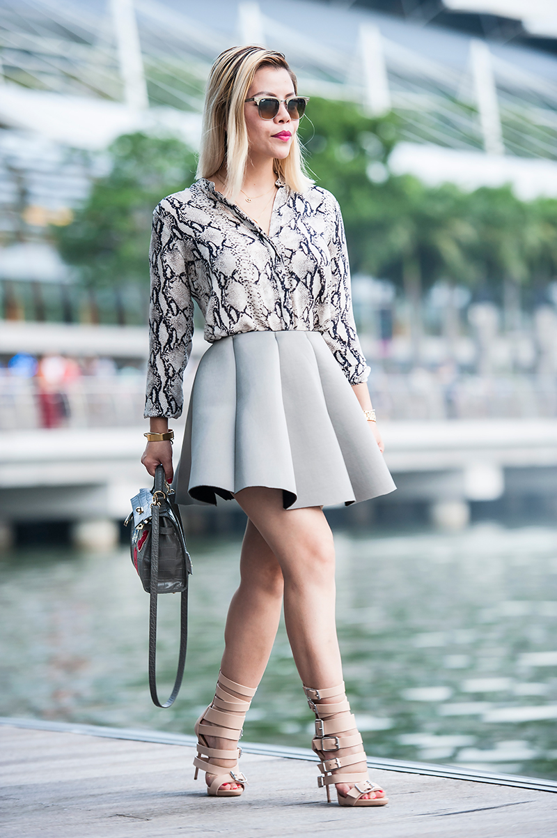 Crystal Phuong in all grey outfit- Singapore streetstyle