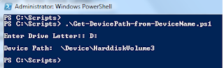 Get Volume Path from Drive Name using Powershell script
