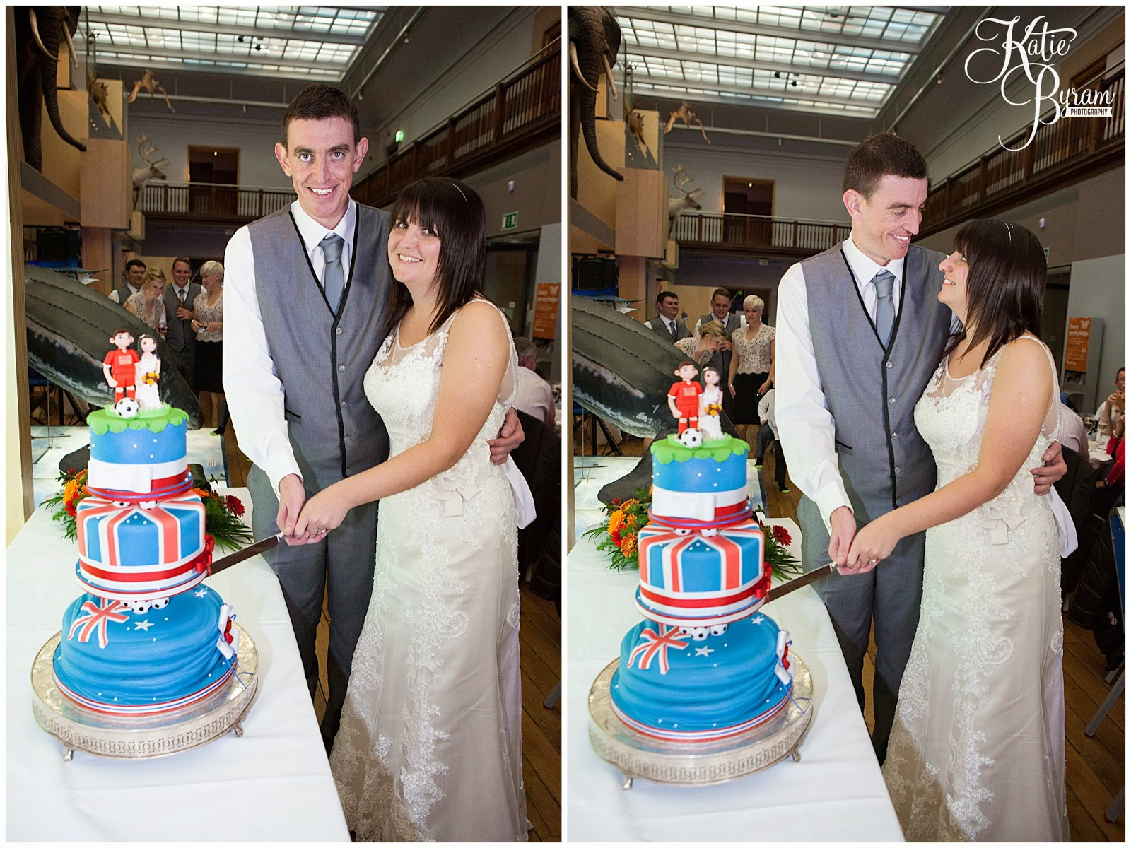 football wedding cake, novelty wedding cake, football cake, vermont hotel wedding, hancock museum wedding, great north museum wedding, quirky wedding, katie byram photography, city centre wedding newcastle upon tyne, wedding venues newcastle, t-rex wedding, museum wedding,