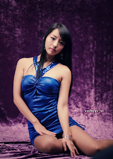 Seo You Jin Korean Sexy Model hot blue mini robe 21