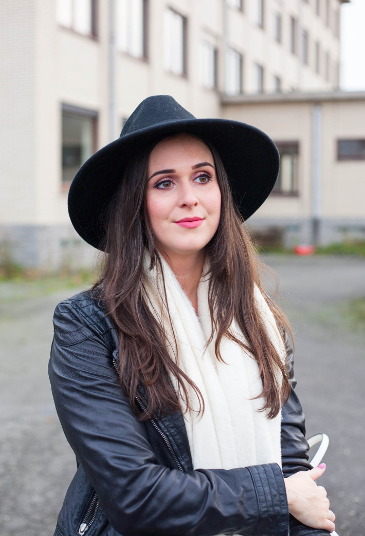 outfit: leather jacket, wide brim hat
