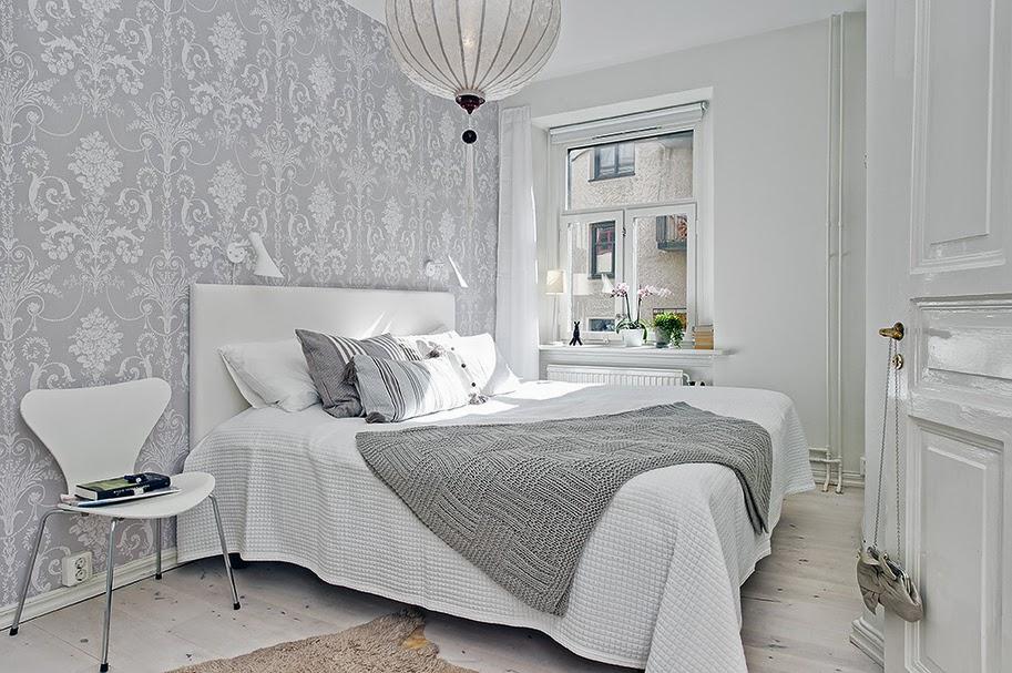 Dormitorios n rdicos con papel pintado for Papel para empapelar habitaciones
