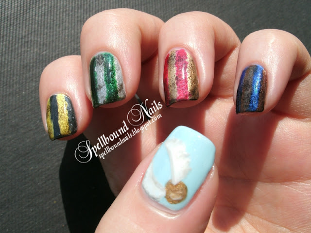 nail art nails mani manicure Harry Potter Gryffindor Slytherin Ravenclaw Hufflepuff Hogwarts Houses striped Golden Snitch wings red gold green silver yellow black blue bronze