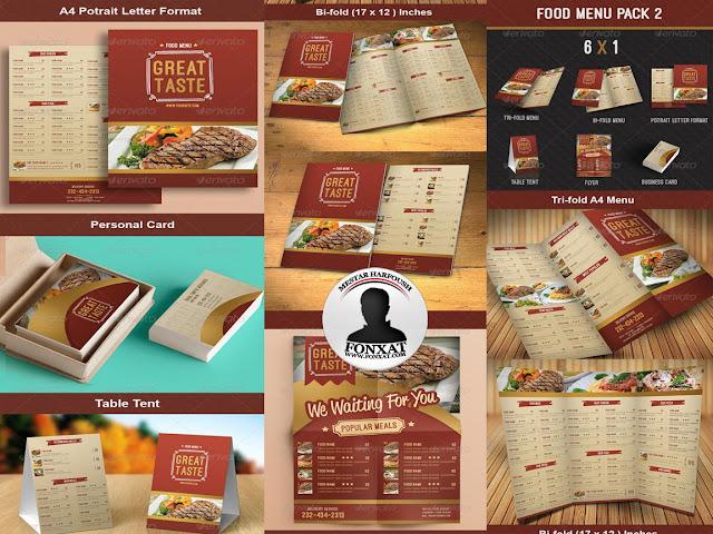 المجموعة الرابعة من منيوهات الطعام food menu design