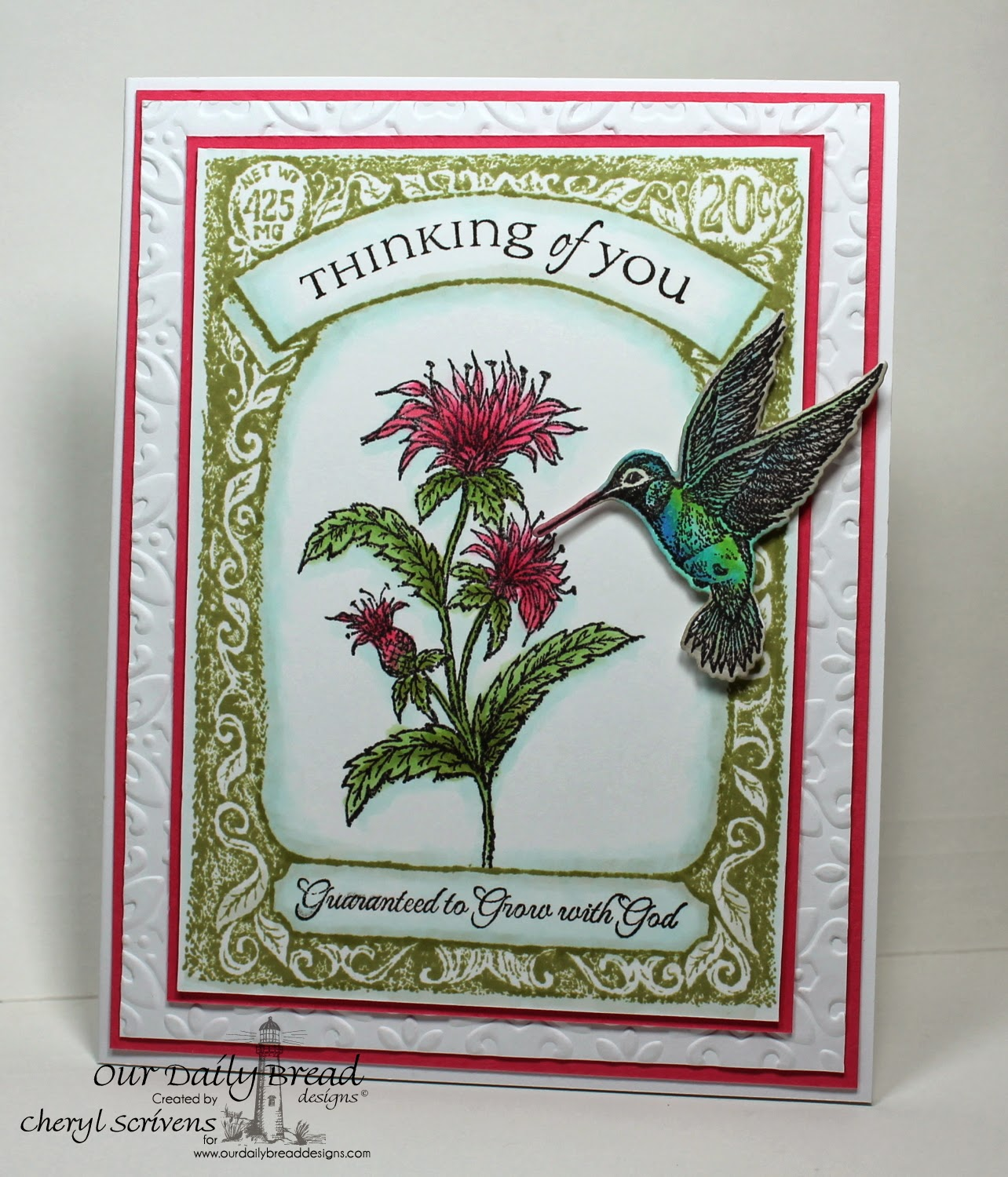 Our Daily Bread Designs, ODBDSLC195, Bee Balm, Hummingbird, ODBD Custom Hummingbird Die, All Occasion Sentiments, Seed Packet, CherylQuilts, Designed by Cheryl Scrivens