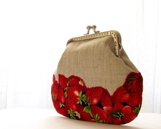 fruit linen wallet, клубничный кошелек