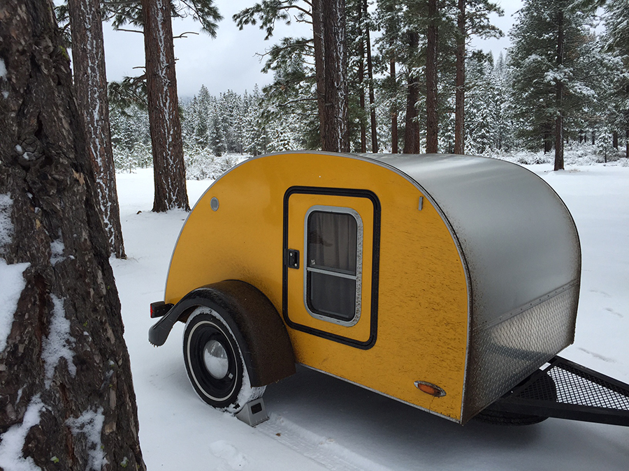 Tiny Yellow Teardrop Teardrop Trailer Snow Camping