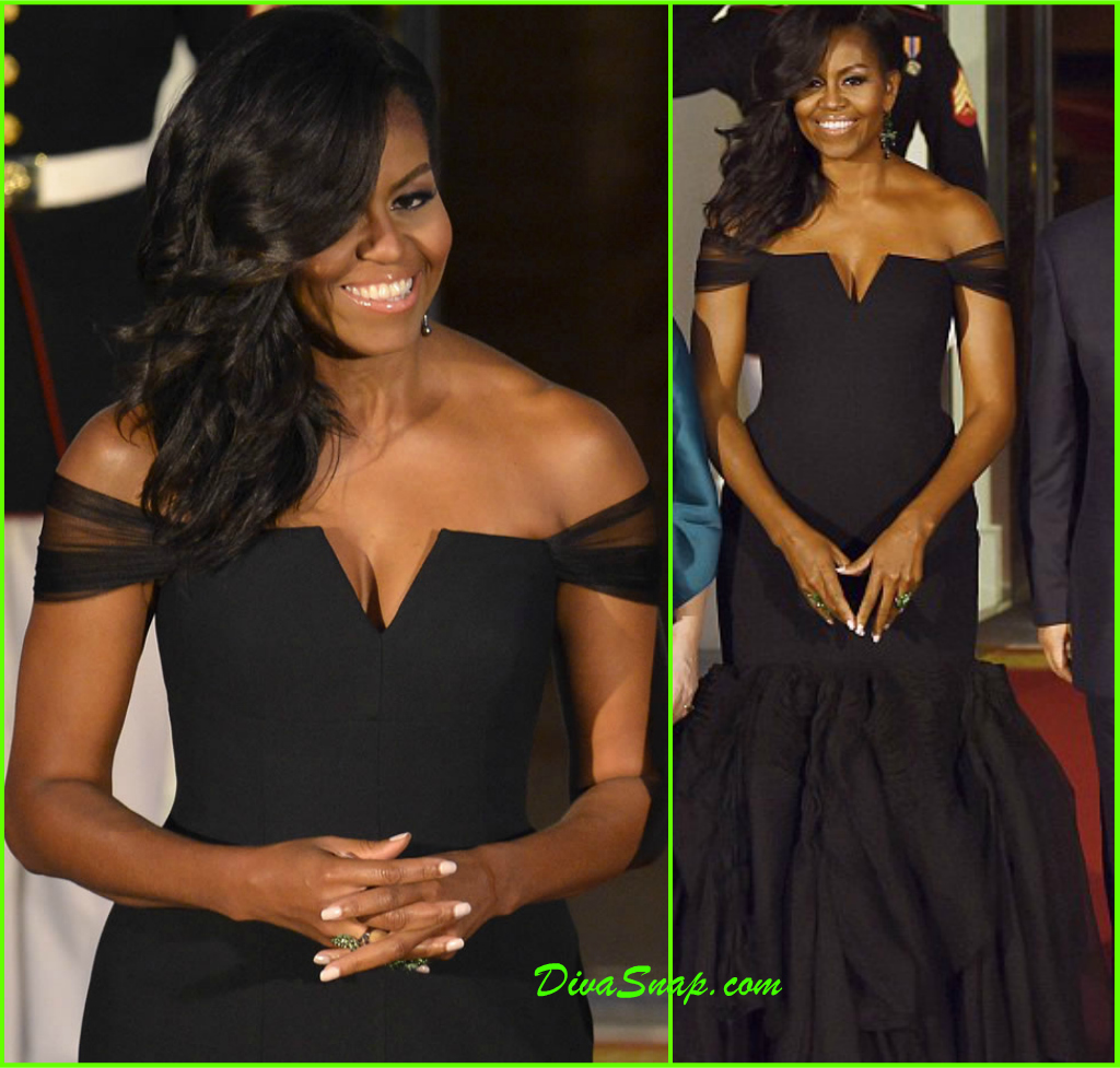 Our fave elegant first lady michelle obama got all gorgeous up in a custom vera wang black silk crepe mermaid gown over the weekend to welcome china s
