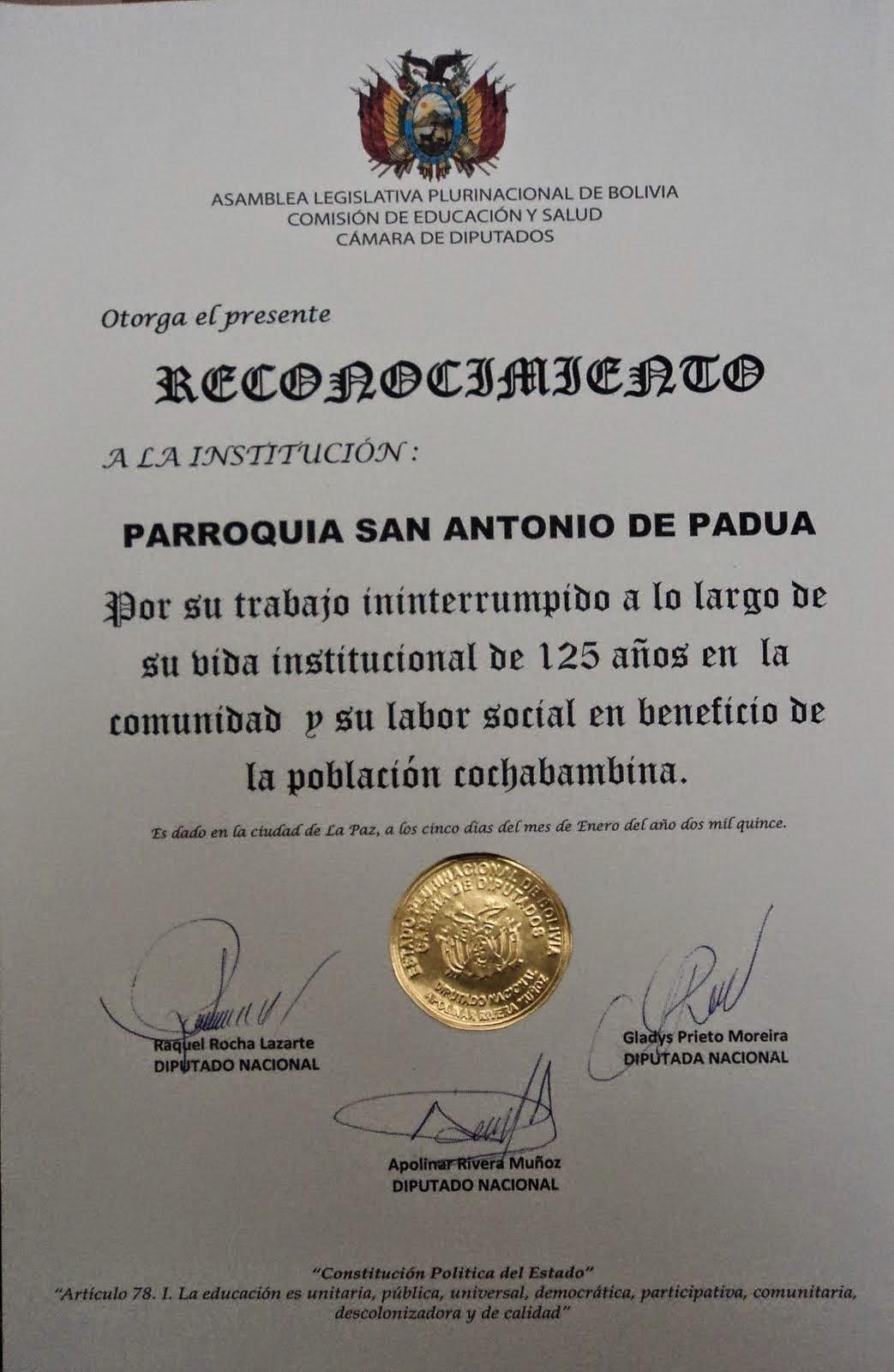RECONOCIMIENTO CAMARA DE DIPUTADOS
