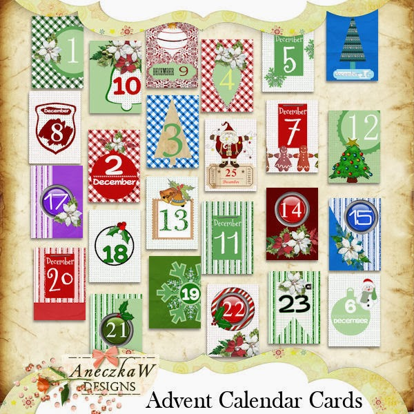 AneczkaW Designs: Advent Calendar Cards