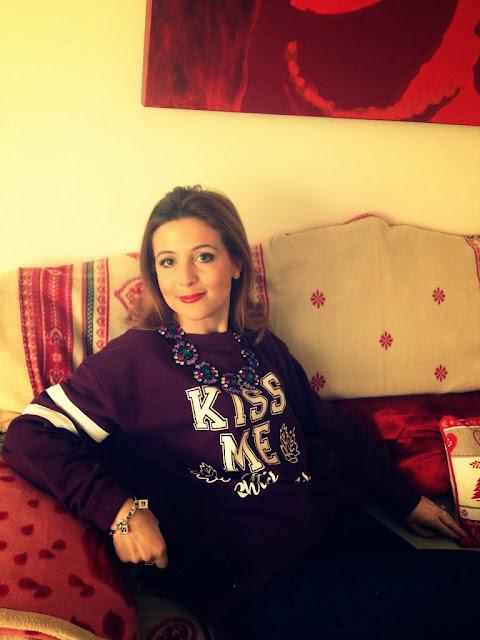 Christmas sweatshirt, subdued sweatshirt, Merry Christmas, Fashion and Cookies, fashion blogger