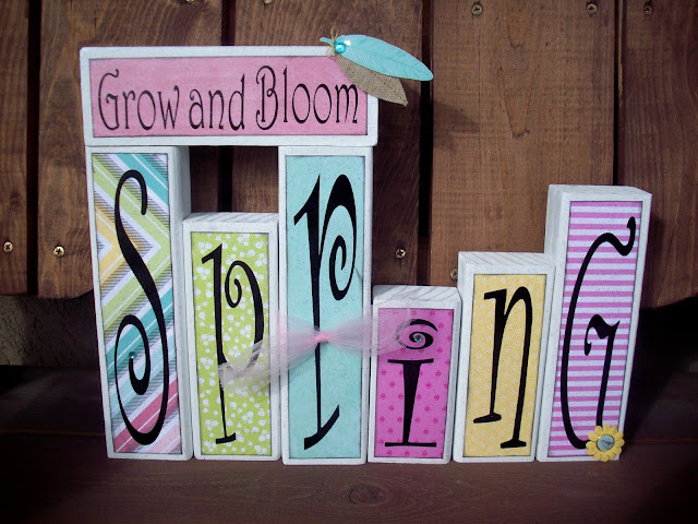 Spring wood blocks using paper from Dear Lizzie Fifth and Frolic