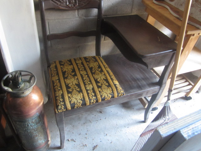 Antique Walnut Telephone Table Chair with attached desk/table - $30 - 2 SISTERS SELLING THEIR STUFF: Antique Walnut Telephone Table Chair