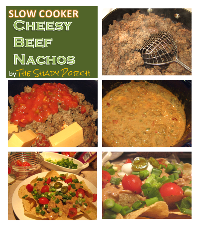 Slow Cooker Cheesy Beef Nachos #Mexican #dinner #appetizer #lunch #snack
