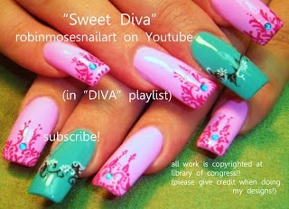 Robin moses nail art jordan nails basketball nails diva barbie pink bright teal air jordan prinsesfo Choice Image