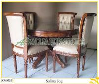 Kursi dan Meja Makan Ukiran Kayu Jati Salina Jog