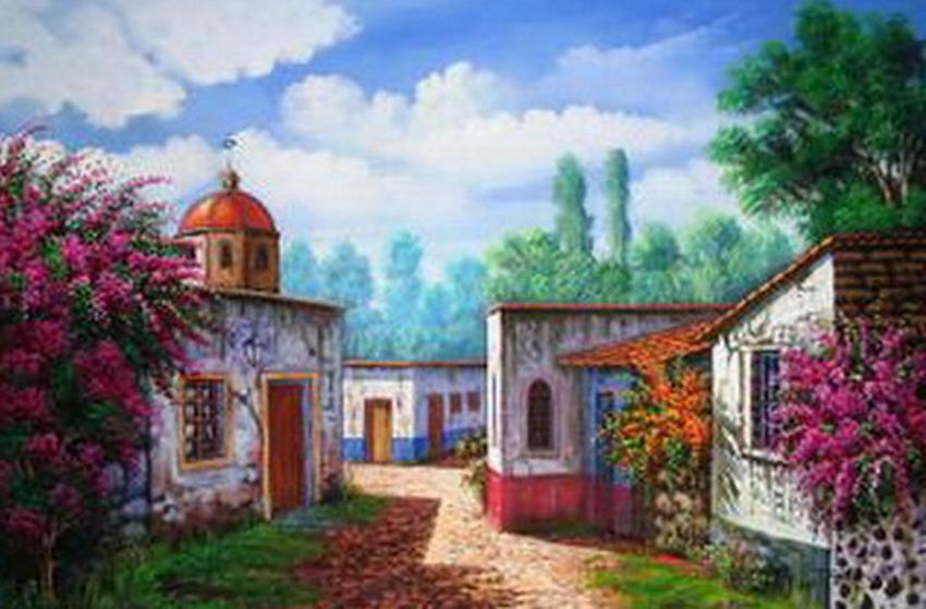Im genes arte pinturas paisajes de casas antiguas pinturas - Paisajes de casas de campo ...