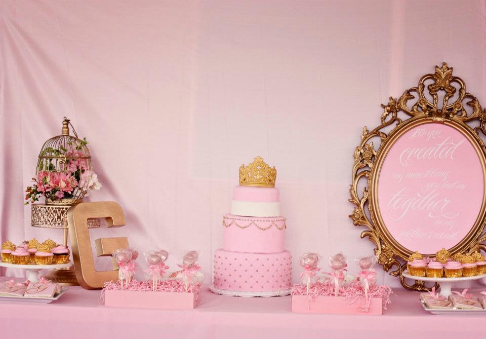 design pink and gold elegant royal gilded bird cage baby shower