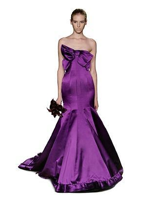 Wedding Lady Dark Purple Bridal Gown