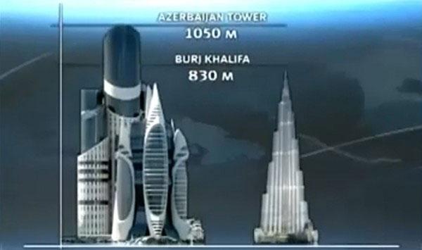 Azerbaijan Tower Vs Burj Khalifa in Dubai Picture, Images, Height, Size