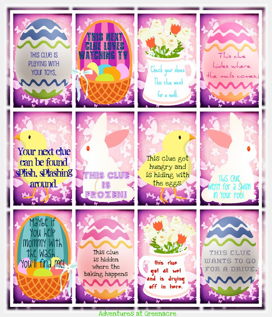Adventures at greenacre easter the easter bunny leaves clues in numbered eggs scattered everywhere to help the girls to find their baskets negle Images