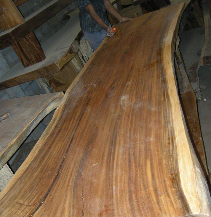 Large Vintage Monkey Pod Wood Slab Coffee Table: IndoGemstone.com: Large Wood Slab Table