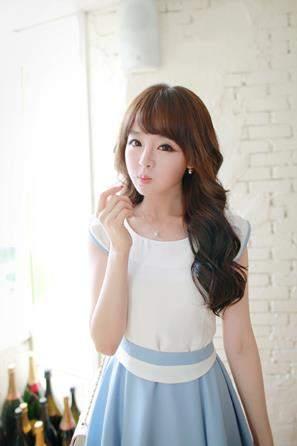 Dress warna biru putih