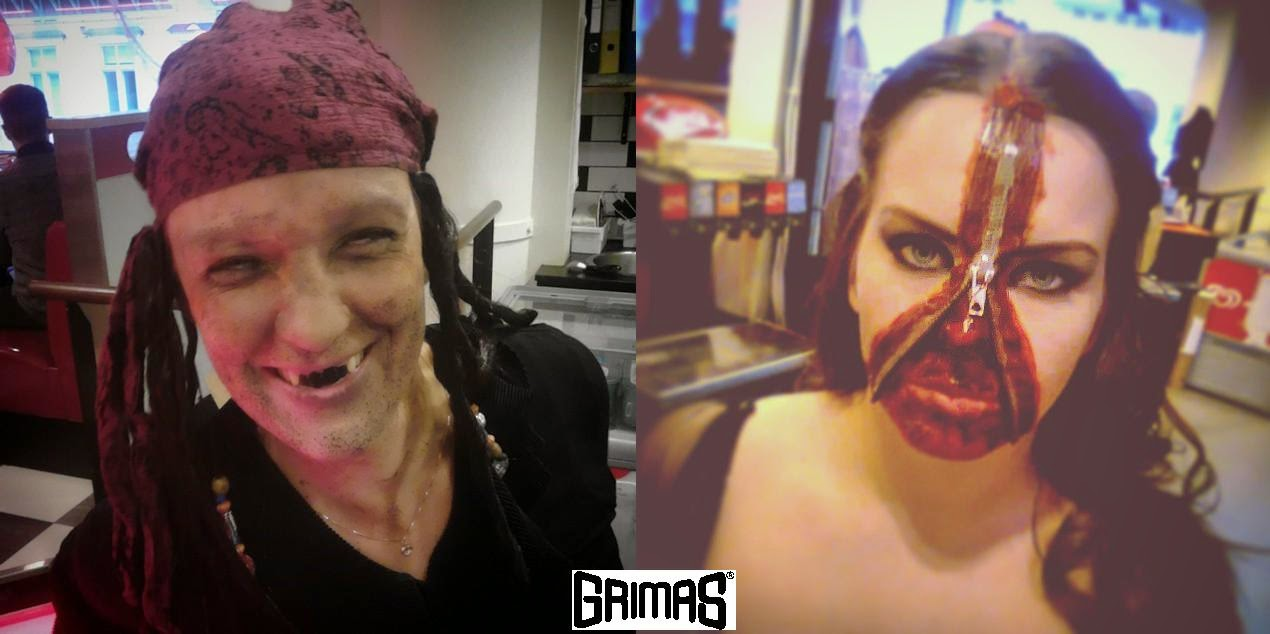 Drunk pirate and Zipperface. Makeup: Ari Savonen. American Diner JKL halloween 2014.