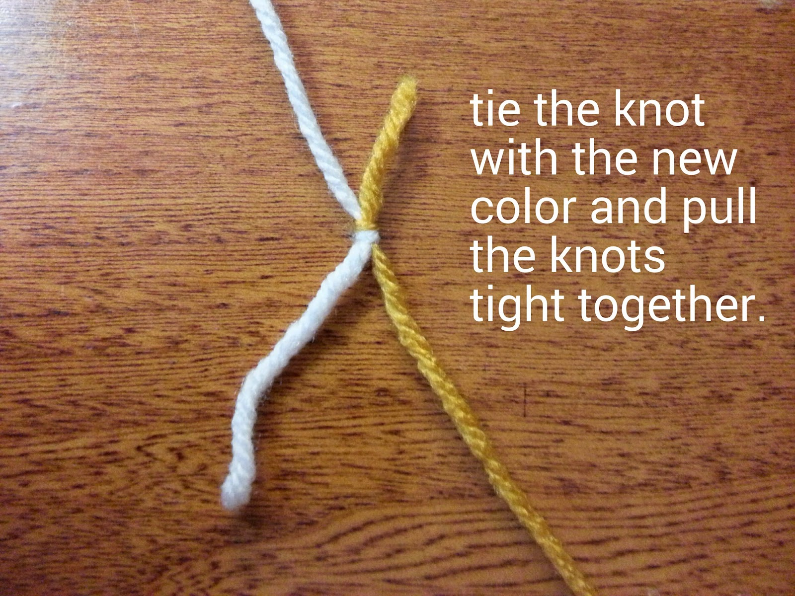 Tw in stitches changing colors with the double knot technique 5 complete your knot snip off the ends ccuart Gallery