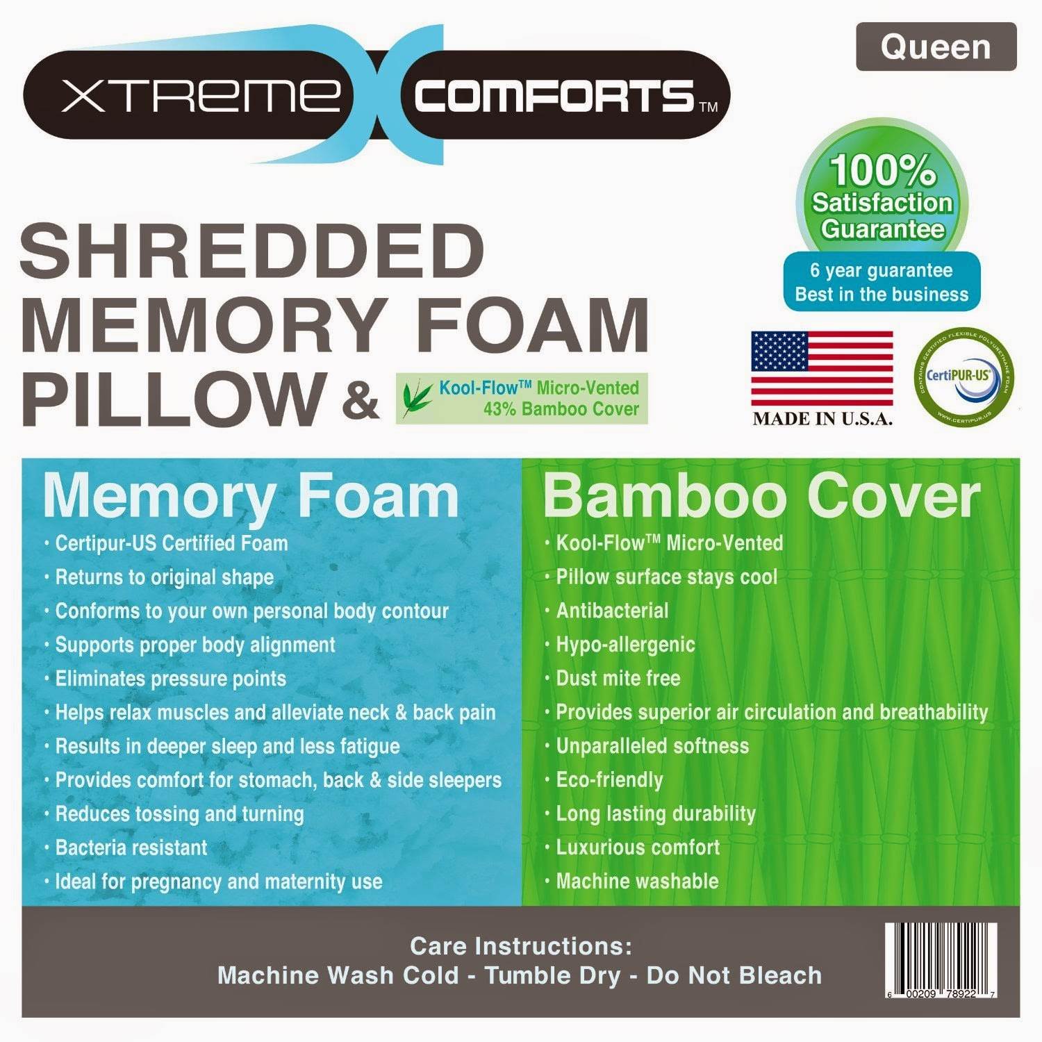 shredded memory foam pillow with koolflow microvented bamboo cover
