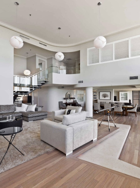 Penthouse living room with modern furniture