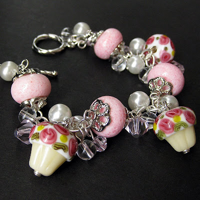 Sweet Tooth Candy Charm Bracelet with Cupcake Lampwork Beads