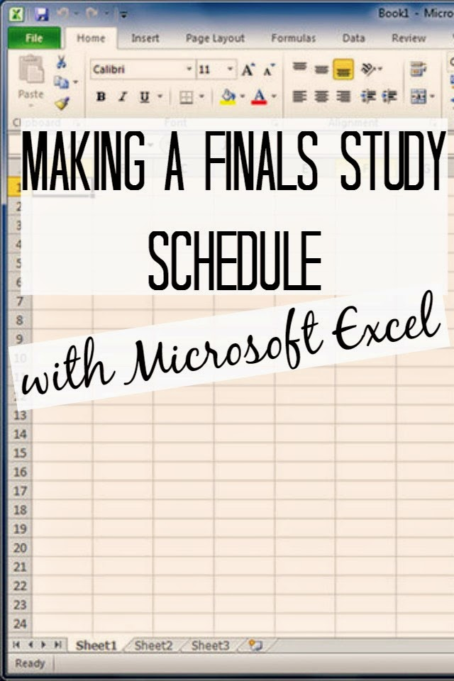 how to make a finals study schedule with microsoft excel