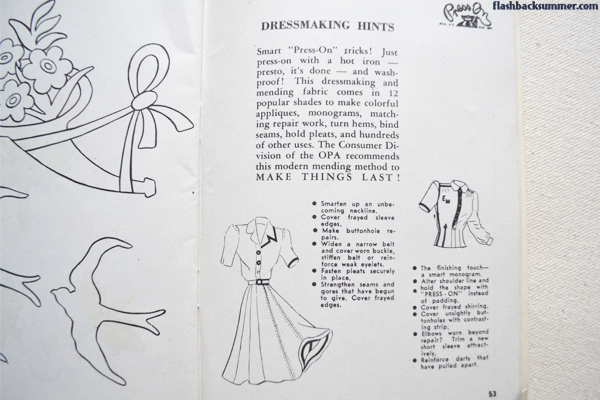 Flashback Summer: No-Sew Embellishing with 1940s Mending Tape - Make do and mend