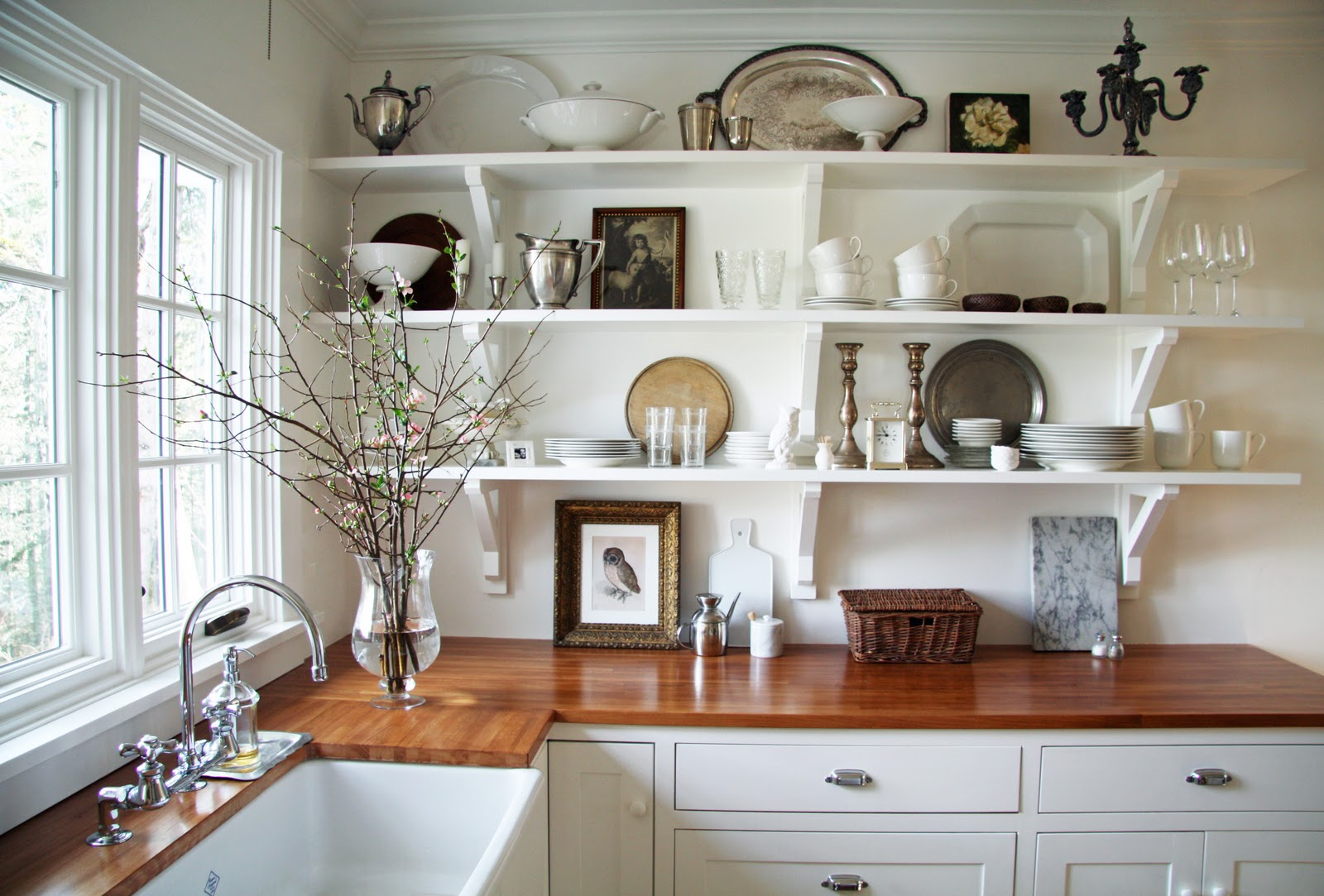 White Country Kitchen With Butcher Block in the fields : the kitchen