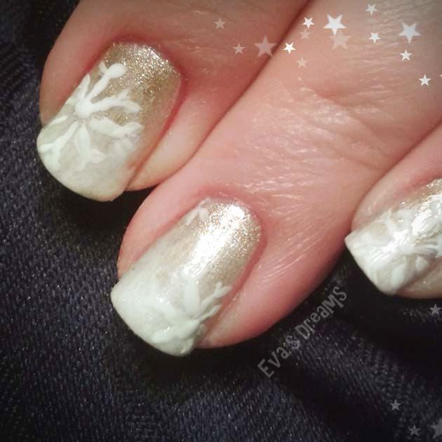 Nails of the week: Nail Design - goldenes Schneegestöber