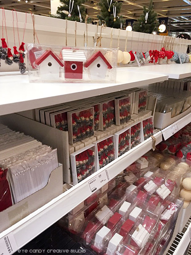 christmas ornaents at IKEA, birdhouses, christmas decorations