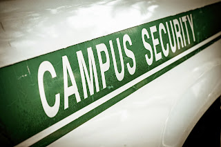 Patrol car with campus security sign