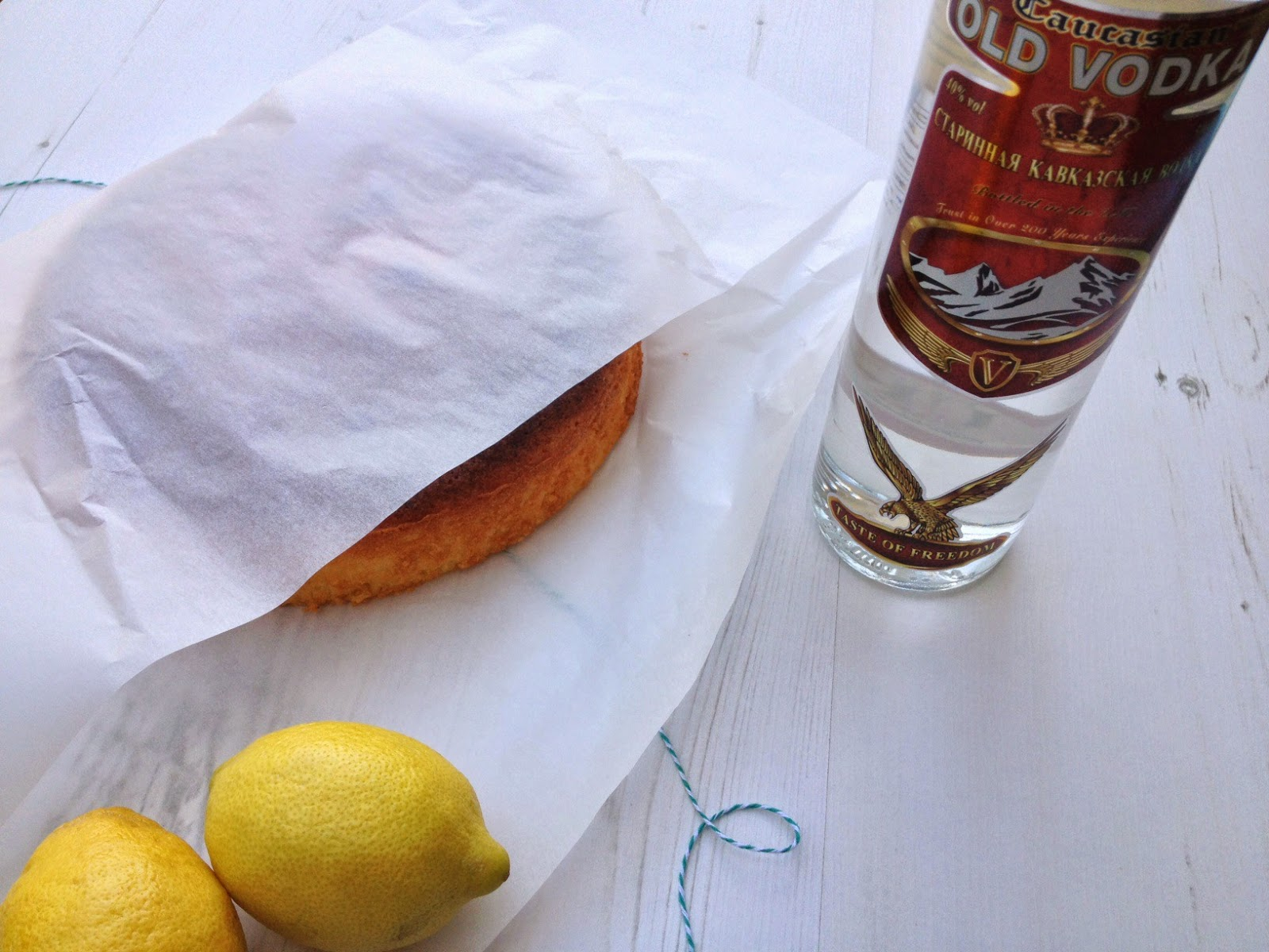 wrapped vodka and lemon cake