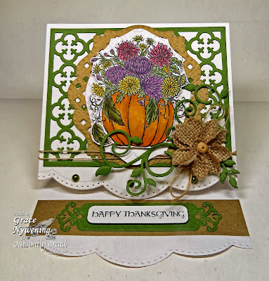 Stamps - Our Daily Bread Designs Fall Flower Pumpkin, Thankful Song, ODBD Custom Pumpkin with Flowers Die, ODBD Custom Quatrefoil Pattern Die, ODBD Custom Fancy Foliage Die
