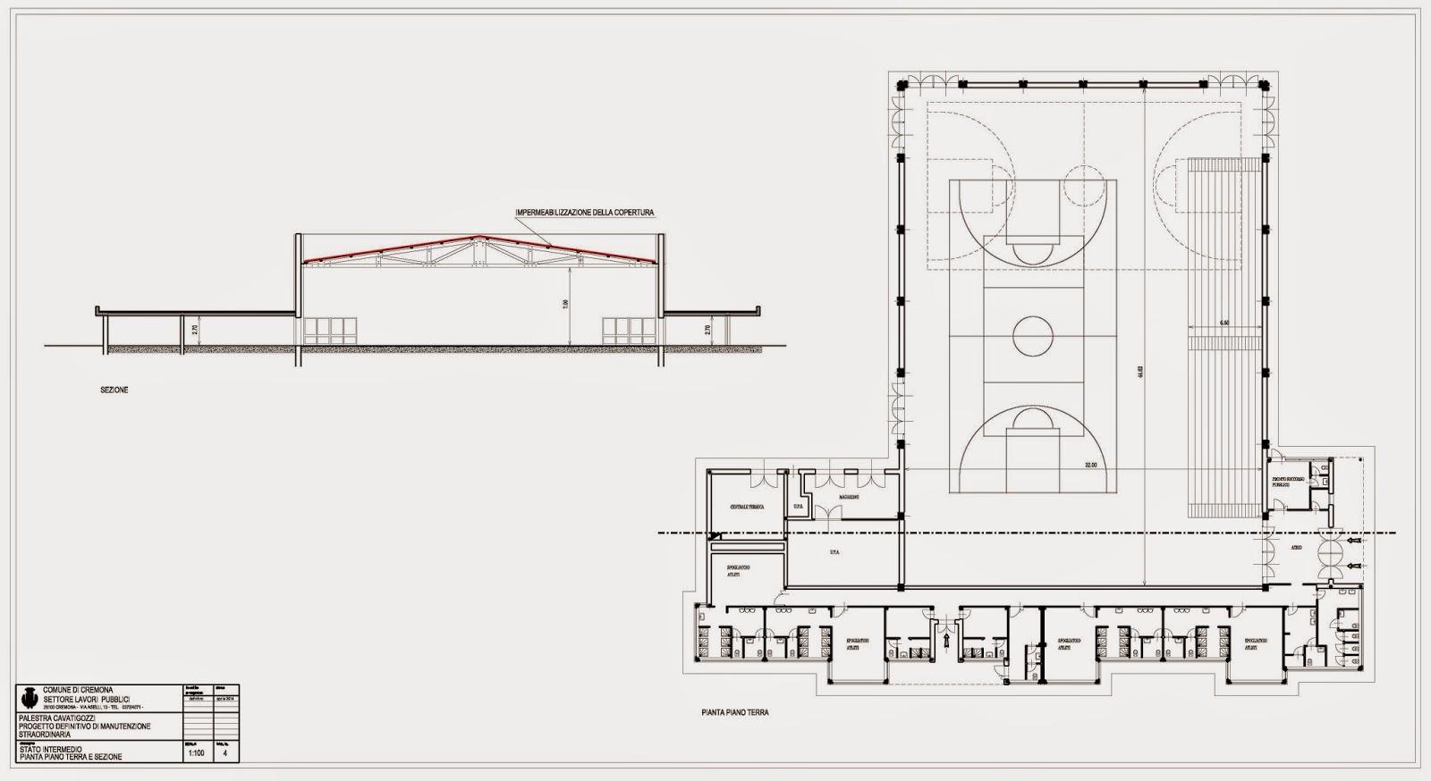 Cremona in comune rifacimento copertura della palestra di for Progetti e planimetrie