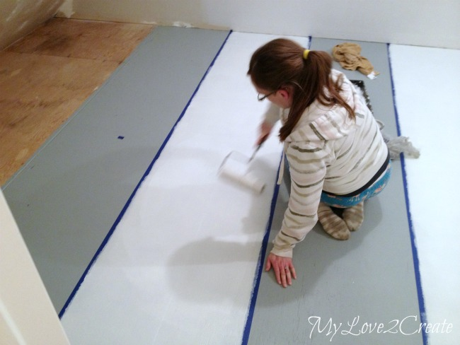 Painting white stripes on subfloor