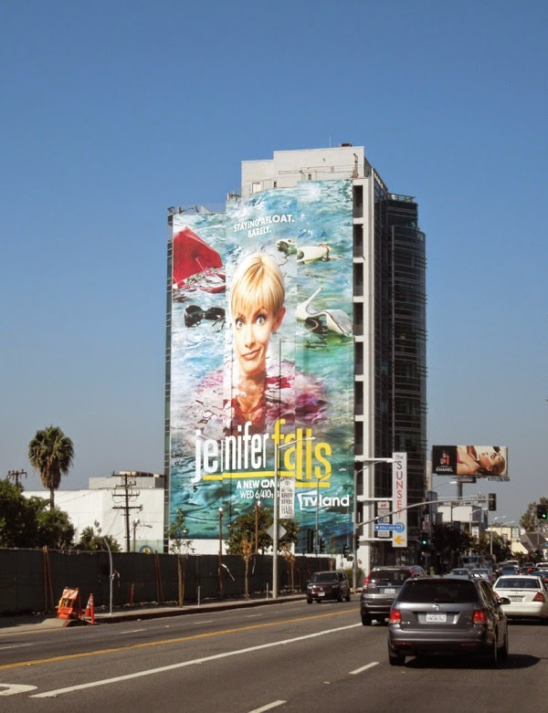 Giant Jennifer Falls series launch billboard
